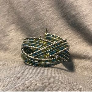 Blue, green, and silver beaded cuff bracelet